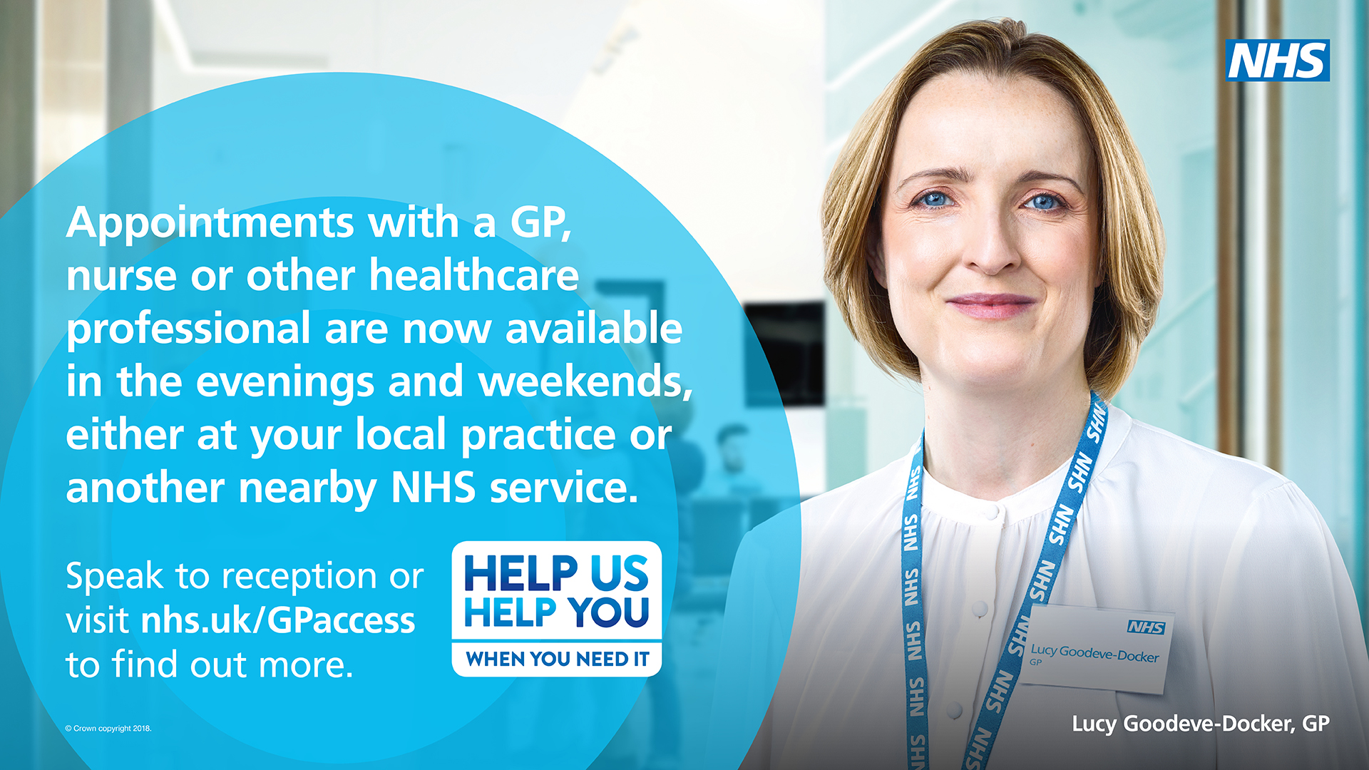 Appointments with a GP, nurse of other healthcare professional are now available in the evenings and weekends, either at your local practice or another nearby NHS service
