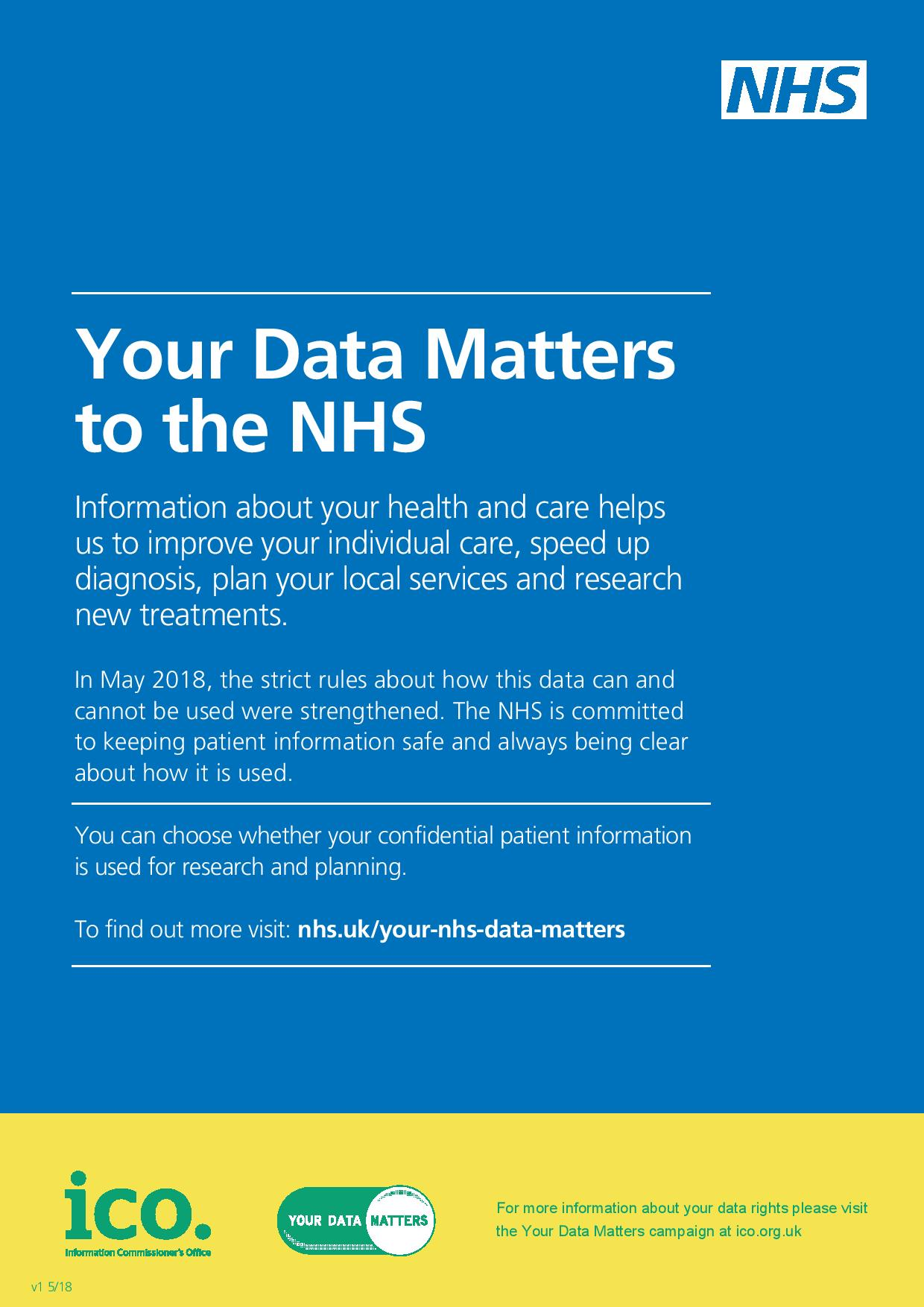 Your Data matters to the NHS. Information about your health and care helps us to improve your individual care, speed up diagnosis, plan your local services and research new treatments. In May 2018, the strict rules about how this data can and cannot be used were strengthened. The NHS is committed to keeping patient information safe and always being clear about how it is used. You can choose whether your confidential patient information is used for research and planning. To find out more visit nhs.uk/your-data-matters