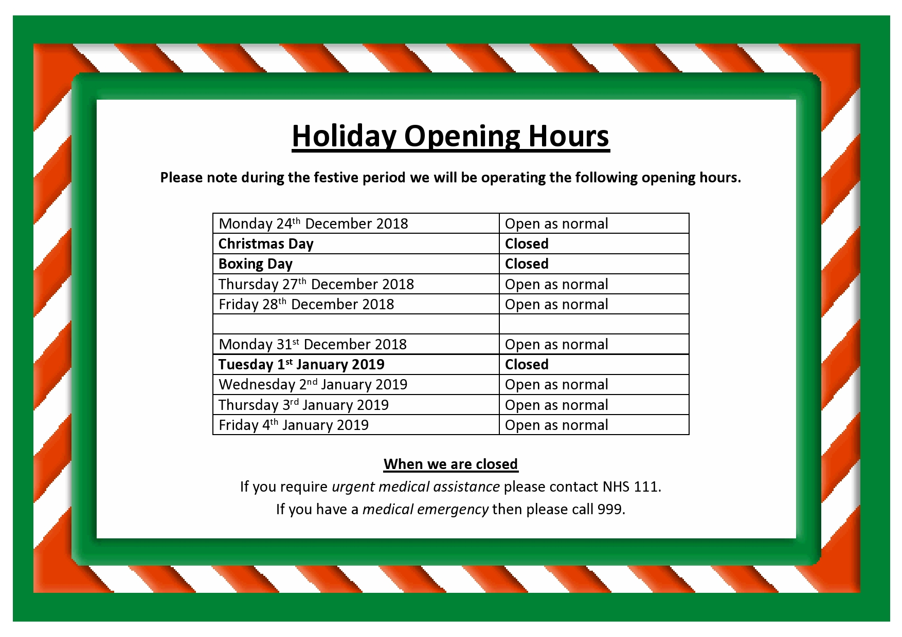 Festive Period Opening Hours for 2018